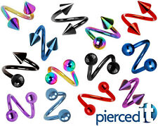 TITANIUM SPIRAL TWISTER EYEBROW EAR CARTILAGE LIP RING ~ANY~ Size-Color-Style~