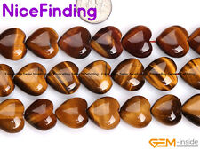"""Heart Natural Tiger Eye Stone Beads For Jewelry Making Strand15"""" 8,10,12,14,20mm"""