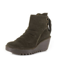 Womens Fly London Yama Oil Suede Sludge Wedge Heeled Ankle Boots Size