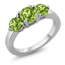 2.10 Ct Round Green Peridot 925 Sterling Silver Ring