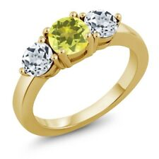2.20 Ct Round Canary Mystic Topaz White Topaz 18K Yellow Gold Plated Silver Ring