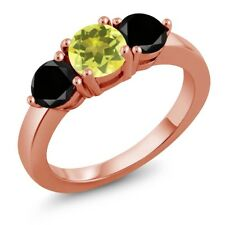 2.10 Ct Round Canary Mystic Topaz Black Diamond 18K Rose Gold Plated Silver Ring