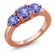 1.82 Ct Round Blue Tanzanite 18K Rose Gold Plated Silver Ring