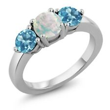 1.85 Ct Round White Simulated Opal Swiss Blue Topaz 925 Sterling Silver Ring