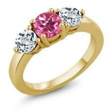 2.20 Ct Round Pink Mystic Topaz White Topaz 18K Yellow Gold Plated Silver Ring