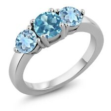 2.40 Ct Round Swiss Blue Topaz Sky Blue Topaz 925 Sterling Silver Ring