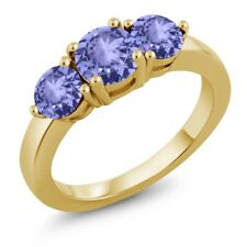 1.82 Ct Round Blue Tanzanite 18K Yellow Gold Plated Silver Ring