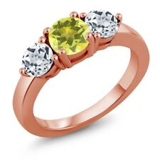 2.20 Ct Round Canary Mystic Topaz White Topaz 18K Rose Gold Plated Silver Ring
