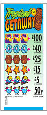 Tropical Getaway 50p Stake Pull Tab Lottery Break Open Tickets For Fundraising