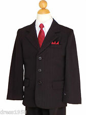 BOYS PINSTRIPES RECITAL, GRADUATION  SUIT SET, BLACK/WHITE, Sz: 5 to 20