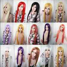 2015 Fashion Womens Multicolor Long Straight Wig Anime Cosplay Party Wigs 100cm