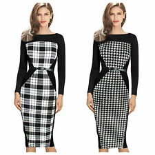 New Rockabilly 50s Dogtooth Check Work Office Party Pencil Wiggle Slimming Dress
