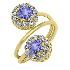 1.52 Ct Round Blue Tanzanite 18K Yellow Gold Plated Silver Ring
