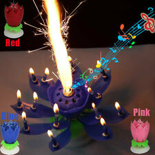 Musical Kids'  Birthday 14 Candles Romantic Blossom Lotus Flower Rotatable Gift