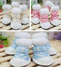 Warm Cozy Small Pet Dog Waterproof Boots Puppy PU Rubber Soled Fur Shoes 2015