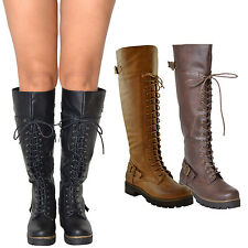 Womens Knee High Motorcy Boots Faux Leather Lace Up Zip Closure Platform shoes