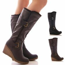 LADIES WOMENS WEDGE BOOTS FUR TRIM MID CALF WINTER CASUAL SHOES SIZE
