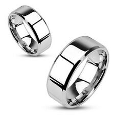 8mm Mirror Polished Flat Wedding Band Beveled Edge 316L Stainless Steel Ring