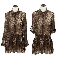 New Women's Lady Casual Long Sleeve Chiffon Leopard Print Party Shirt Dress RD3F