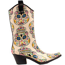 M&F WESTERN WOMENS CREAM SUGAR SKULL DESIGN SNIP TOE LEG RAIN BOOTS