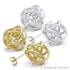 14kt Solid Yellow / White Gold 14mm Love Knot Stud Earrings 14k 14 kt Studs