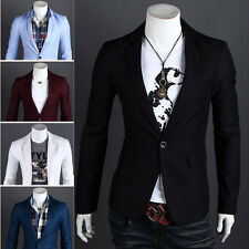 Fashion Men's Casual Slim Fit One Button Suit Blazer Coat Jacket Tops Suit Hot