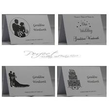 White Wedding Table Party Personalised Guest Place Name Cards Silhouette Design