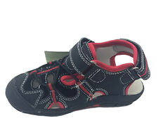 Boys Shoes Grosby Simon Jnr Covered Toe Black/Red Size 7-12 New Adjust