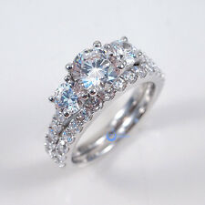 1.25ct Round Cut Three Stone Solitaire Engagement Wedding Rings Set Silver CZ