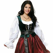 ADULT WOMAN RENAISSANCE PIRATE MEDIEVAL GREEN BODICE LACE UP COSTUME VEST CORSET