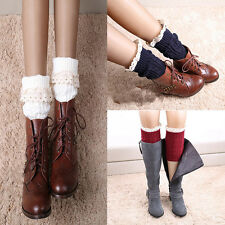 Cute New Women's Retro Crochet Knitted Lace Trim Boot Cuffs Toppers Socks HOT