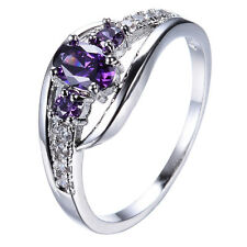 Purple Amethyst Women's 10Kt White Gold Filled Engagement Wedding Ring Size 6-10