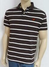 American Eagle Outfitters AEO Mens Brown White Stripe Interlock Polo Shirt NWT