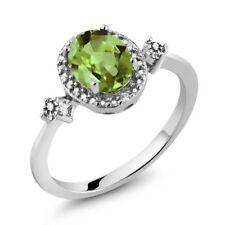 1.47 Ct Oval Green Peridot White Diamond 925 Sterling Silver Ring