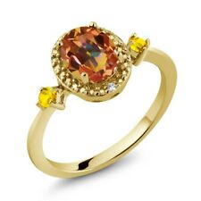 1.48 Ct Ecstasy Mystic Topaz Yellow Sapphire 18K Yellow Gold Plated Silver Ring