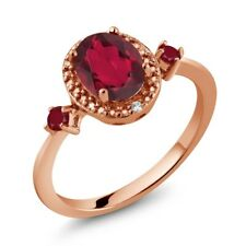 1.55 Ct Oval Ruby Red Mystic Topaz Red Ruby 18K Rose Gold Plated Silver Ring