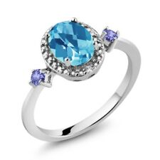 1.47 Ct Oval Swiss Blue Topaz and  Tanzanite 925 Silver Ring With Accent Diamond