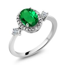Oval Simulated Emerald White Topaz 925 Sterling Silver Ring With Accent Diamond