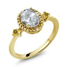 Topaz Simulated Citrine 18K Yellow Gold Plated Silver Ring With Accent Diamond