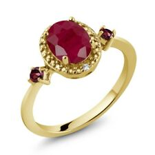 1.79 Ct Oval Red Ruby Red Rhodolite Garnet 18K Yellow Gold Plated Silver Ring