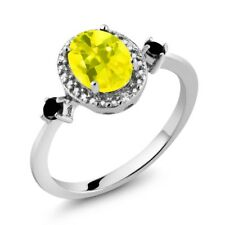 1.44 Ct Oval Canary Mystic Topaz Black Diamond 925 Sterling Silver Ring