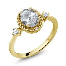 1.41 Ct White Topaz White Created Sapphire 18K Yellow Gold Plated Silver Ring