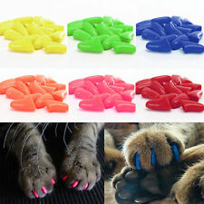 Soft Rubber Pet Dog Cat Kitten Paw Claw Nail Caps Cover Shell Protector + Glue