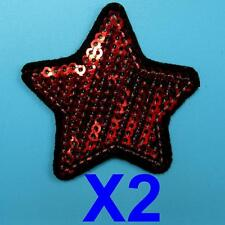 2 Star Sequins Iron On Sew Patch Applique Badge Embroidered Biker Motor Cute Lot