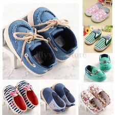 Toddler Infant Kids Baby Girl Boys Crib Shoes Loafers Prewalker Stripe Sneakers