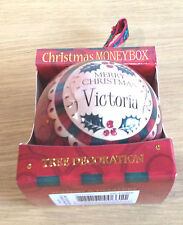 Personalised Christmas Tree Money Box Bauble Baubles in Red