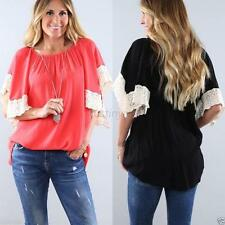 Women's Loose Casual T Shirt Lace Batwing Dolman Mid Sleeve Tops Blouse Fall J17