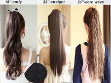 Claw On Wrap Tie Up Straight Curly Ponytail Clip In Hair Extensions Pony Tail F2