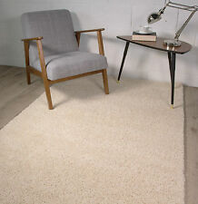 NEW CREAM SMALL MEDIUM LARGE THICK PLAIN SOFT SHAGGY RUGS NON SHED MODERN RUGS