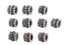 10PCS Mixed Colors Rhinestone Charm Beads Fit European Bracelet #91861